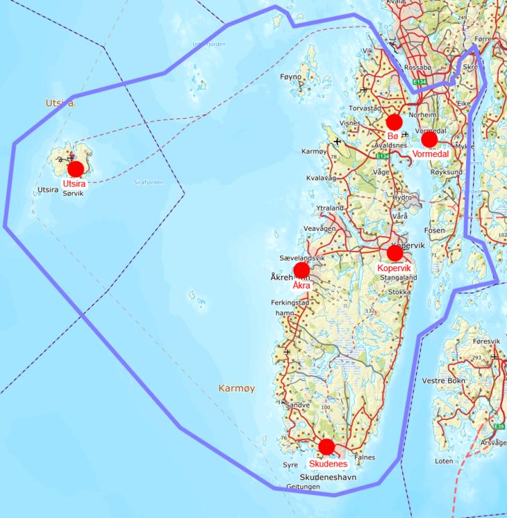 område vest i kart