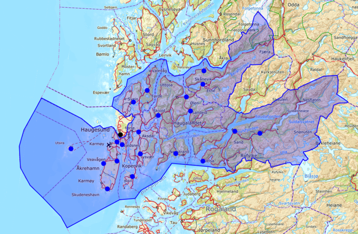 Kart over iksets dekningsområde
