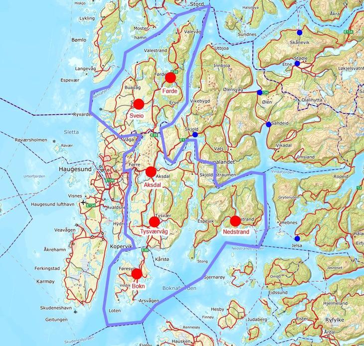 Kart over område midt