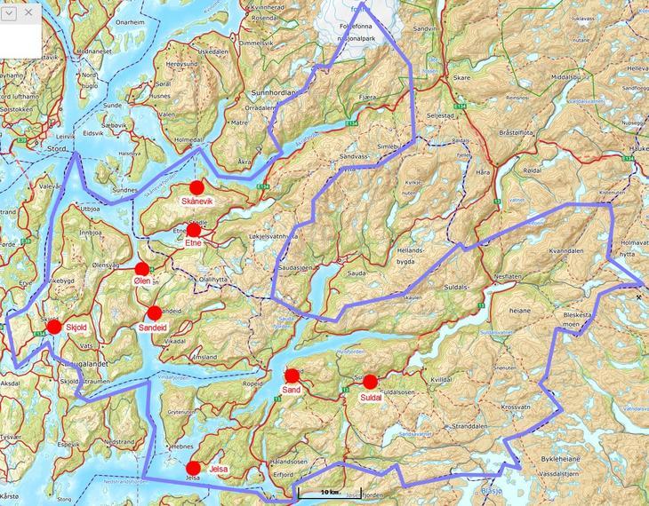 Kart over område øst