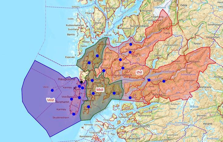 Kart områder Haugaland brann og redning