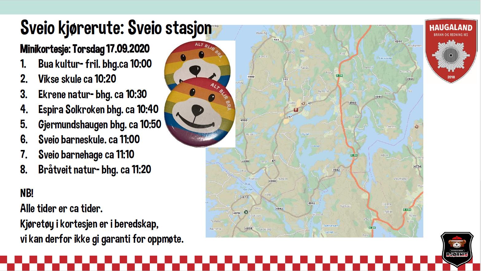 Tidspunkt fra Sveio stasjon